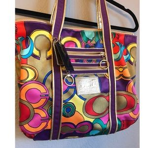Coach poppy multi color logo tote